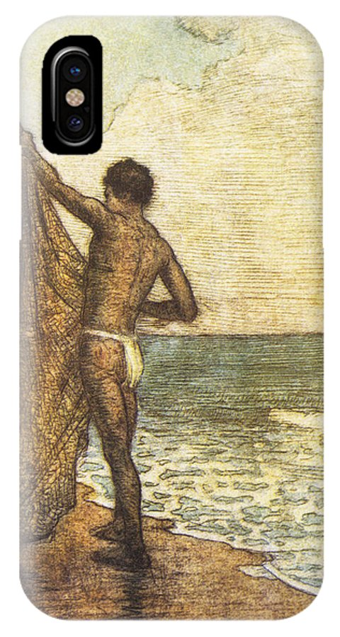1937 IPhone X Case featuring the painting Hawaiian Fisherman Painting by Hawaiian Legacy Archive - Printscapes