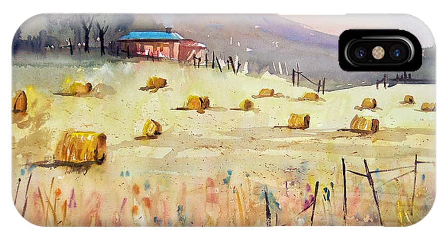 Watercolor IPhone X Case featuring the painting Hay Bales by Ryan Radke
