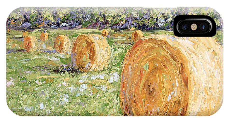 Hay IPhone X Case featuring the painting Hay Rolls by Lewis Bowman