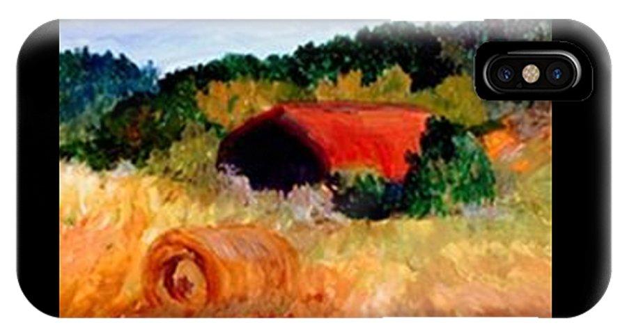 Hayrolls IPhone X Case featuring the painting Hayrolls by Gail Kirtz