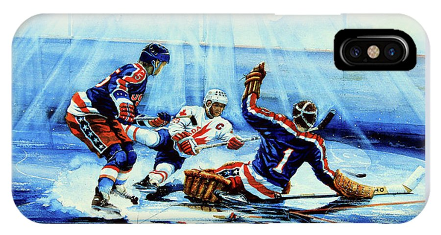 Hockey IPhone X Case featuring the painting He Shoots by Hanne Lore Koehler