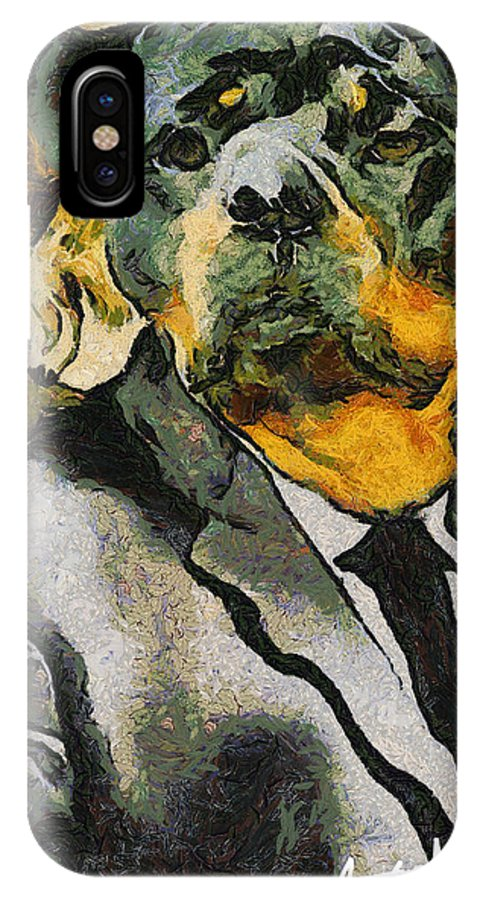 Dog IPhone X Case featuring the painting Head Of Security by Anthony Caruso