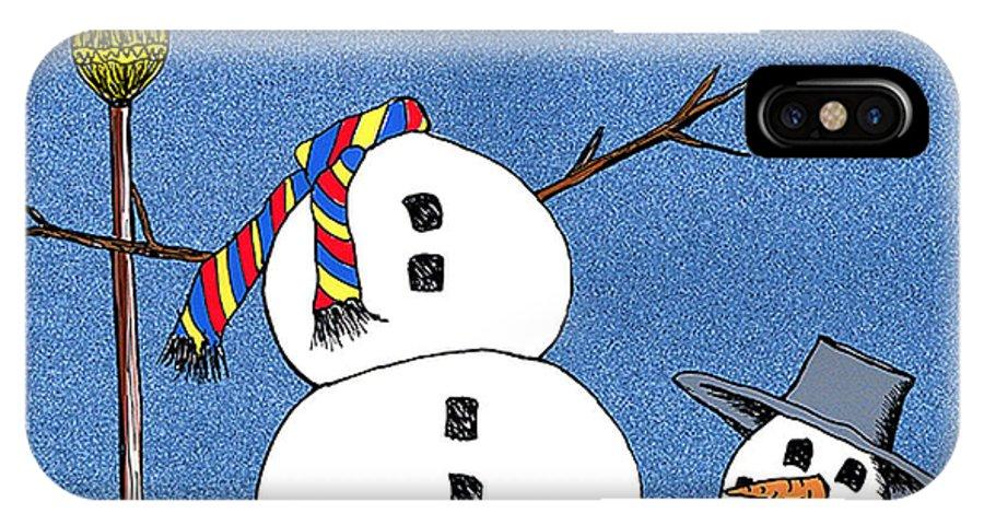 Snowman IPhone X Case featuring the digital art Headless Snowman by Nancy Mueller