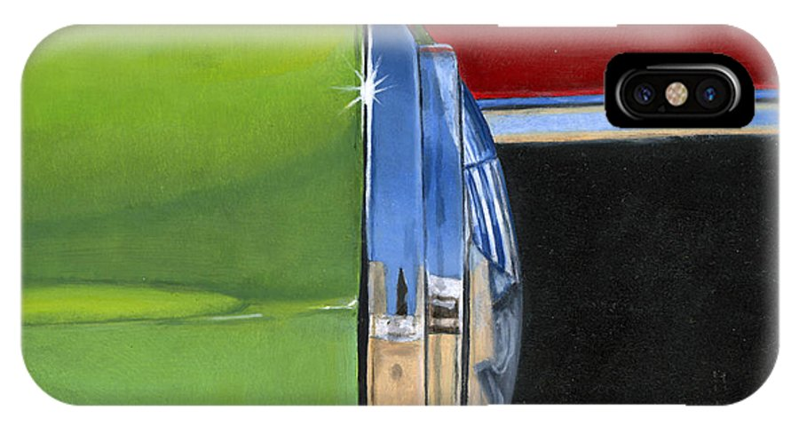 Car IPhone X Case featuring the painting Headlight by Rob De Vries