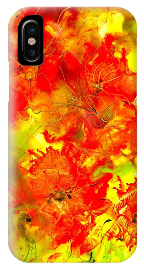 Healing IPhone X Case featuring the painting Healing 080109 by Heather Hennick