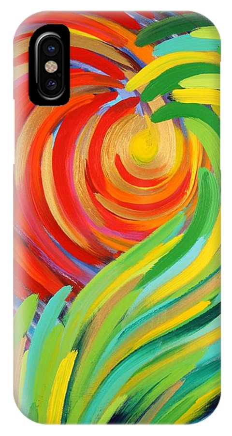 Abstract IPhone X Case featuring the painting Heart Of God by Gary Rowell