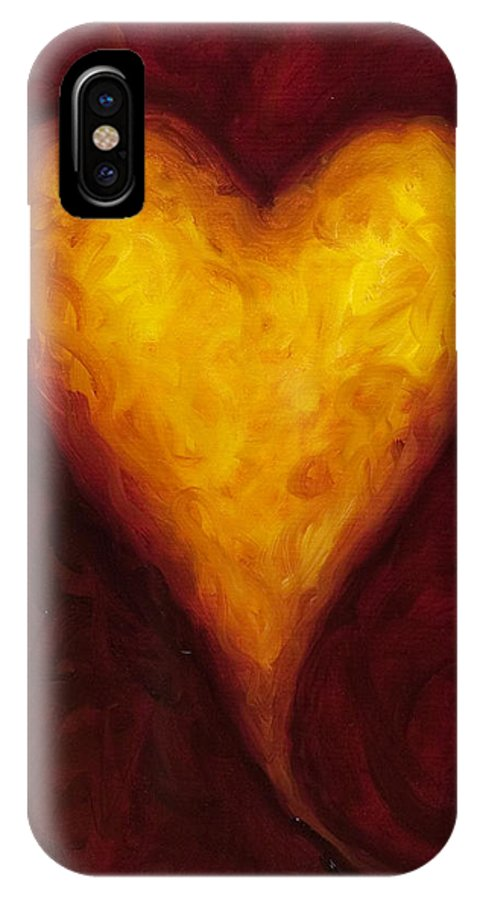 Heart IPhone Case featuring the painting Heart Of Gold 1 by Shannon Grissom
