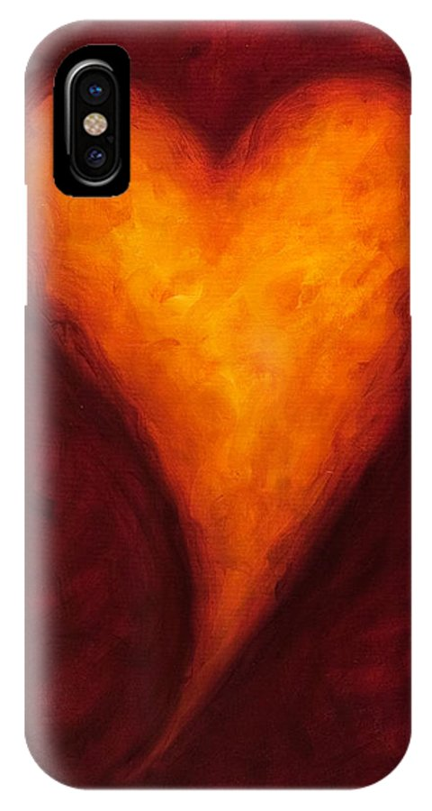 Heart IPhone X Case featuring the painting Heart Of Gold 2 by Shannon Grissom