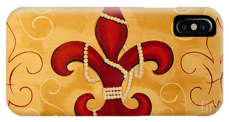 Fleur De Lis IPhone X Case featuring the painting Heart Of New Orleans by Valerie Carpenter