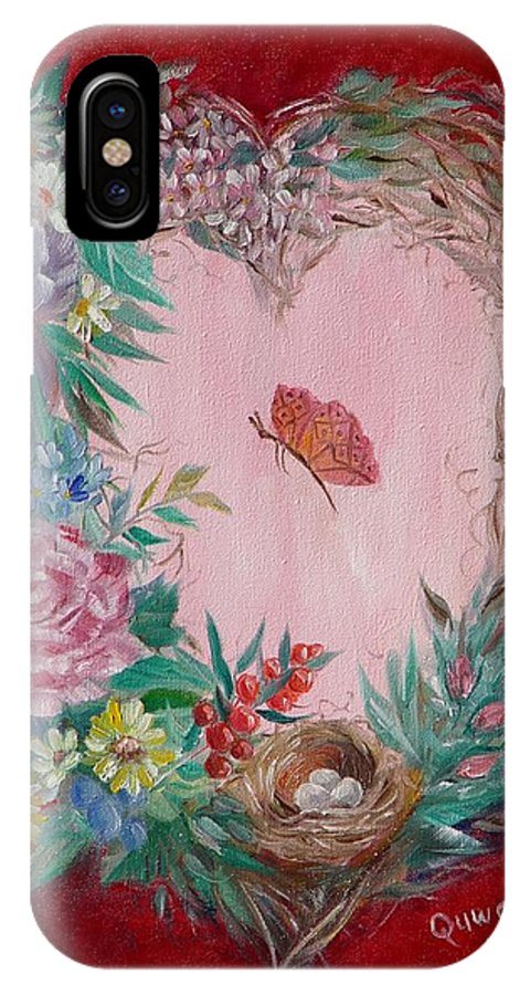 Heart IPhone X Case featuring the painting Heart Wreath by Quwatha Valentine
