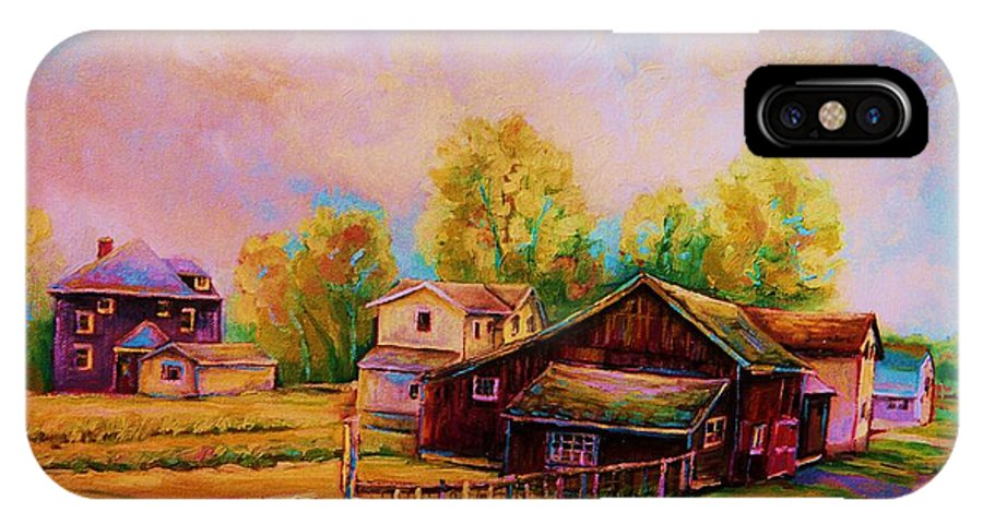 Landscape IPhone X Case featuring the painting Hearth And Home by Carole Spandau