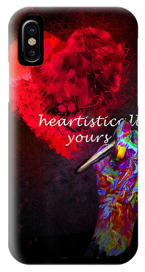 Valentine IPhone X Case featuring the painting Heartistically Yours by Miki De Goodaboom