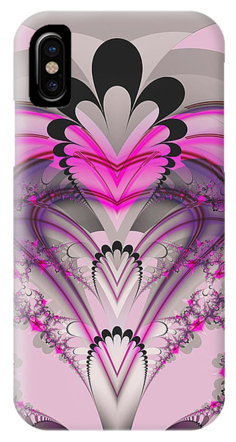 Fractal IPhone X Case featuring the digital art Hearts by Frederic Durville