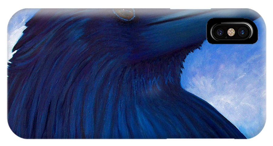 Raven IPhone X Case featuring the painting Heaven Bound by Brian Commerford