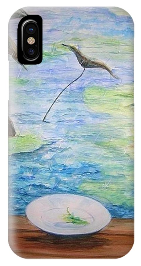 Feng Shui Study IPhone X Case featuring the painting Heaven Sent Gentle Rain by Lizzy Forrester