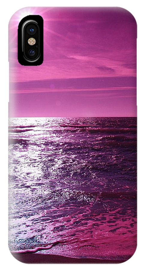 Abstract IPhone X Case featuring the photograph Heaven Shines Purple by Florene Welebny