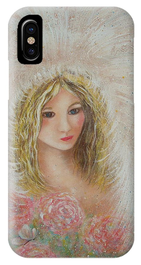 Angel IPhone X Case featuring the painting Heavenly Angel by Natalie Holland