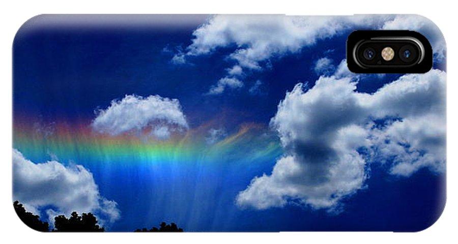 Heavens Rainbow IPhone X Case featuring the photograph Heavens rainbow by Linda Sannuti