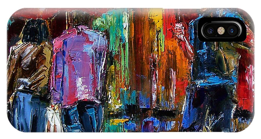 Street Scene IPhone X Case featuring the painting Heavy Rain by Debra Hurd