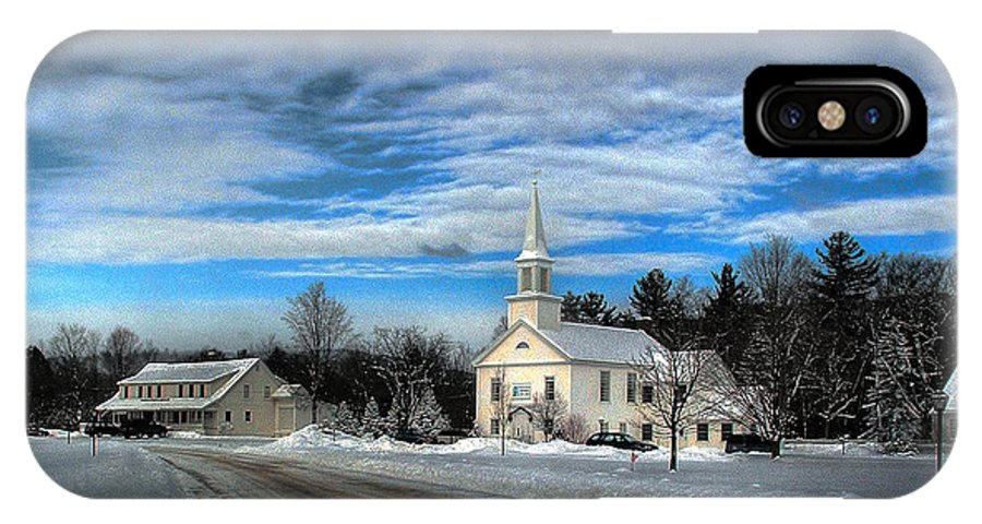 Snow IPhone X Case featuring the photograph New Snow On Hebron Common by Wayne King