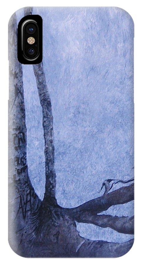 Tree Trunk IPhone X Case featuring the painting Hedden Park II by Leah Tomaino
