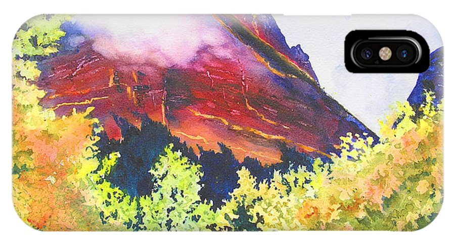 Mountain IPhone X Case featuring the painting Heights Of Glacier Park by Karen Stark