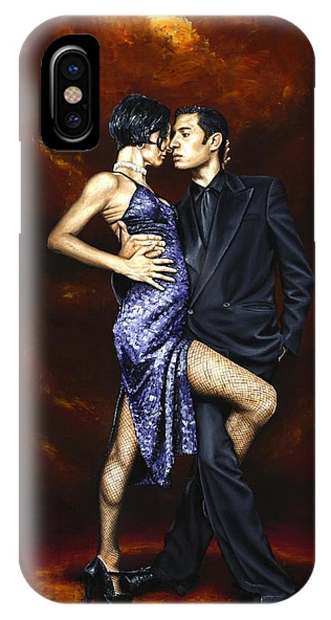 Tango Dancers Love Passion Female Male Woman Man Dance IPhone X Case featuring the painting Held In Tango by Richard Young