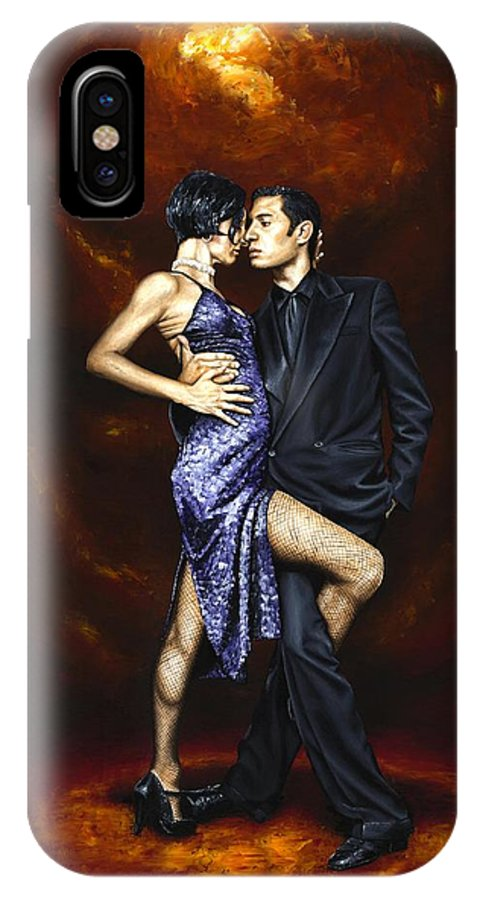Tango IPhone X Case featuring the painting Held in Tango by Richard Young