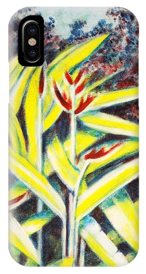 Heliconia IPhone X Case featuring the painting Heliconia 2 by Usha Shantharam