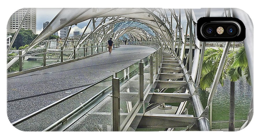 Bridge Walkway Helix Singapore IPhone X Case featuring the photograph Helix Bridge by Alan Kepler