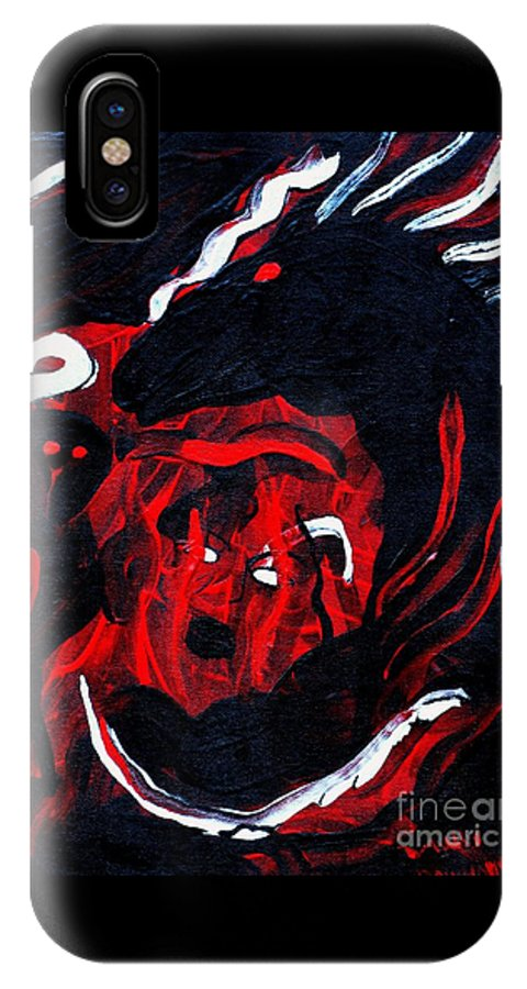 Horse Woman Red Black Silver IPhone X Case featuring the painting Hell Beast by Dawn Downour