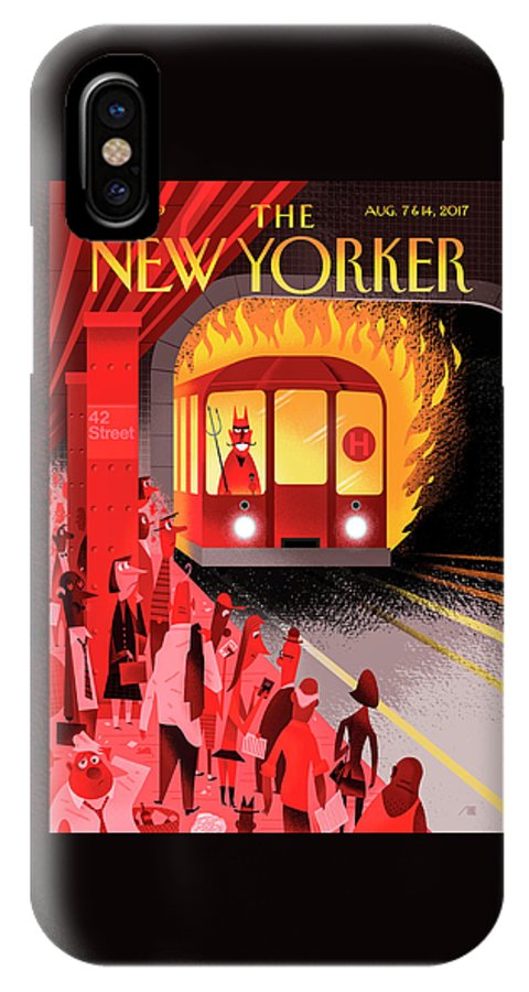 Hell Train IPhone X Case featuring the drawing Hell Train by Bob Staake