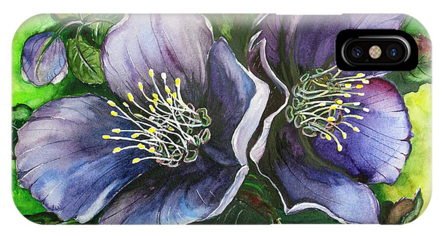 Flower Painting Botanical Painting Original W/c Painting Helleborous Painting IPhone X Case featuring the painting Helleborous Blue Lady by Karin Dawn Kelshall- Best
