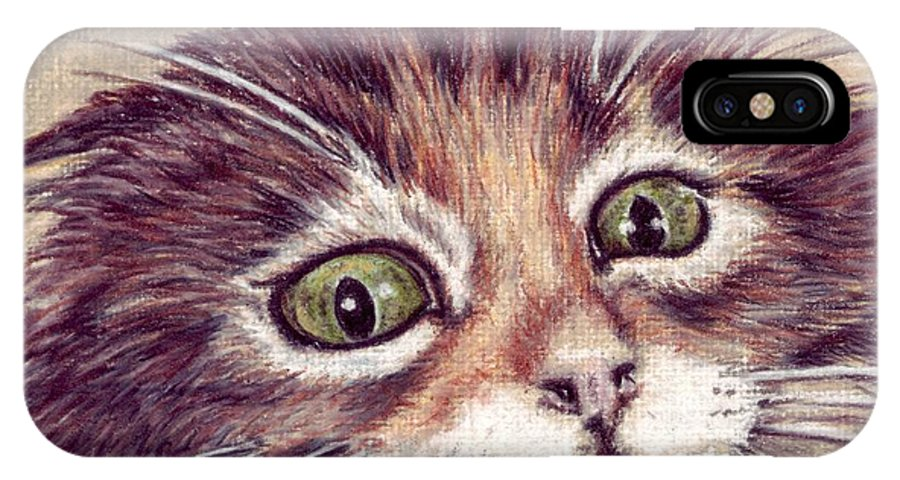 Cat IPhone X Case featuring the drawing Hello Clarice by Kristen Wesch