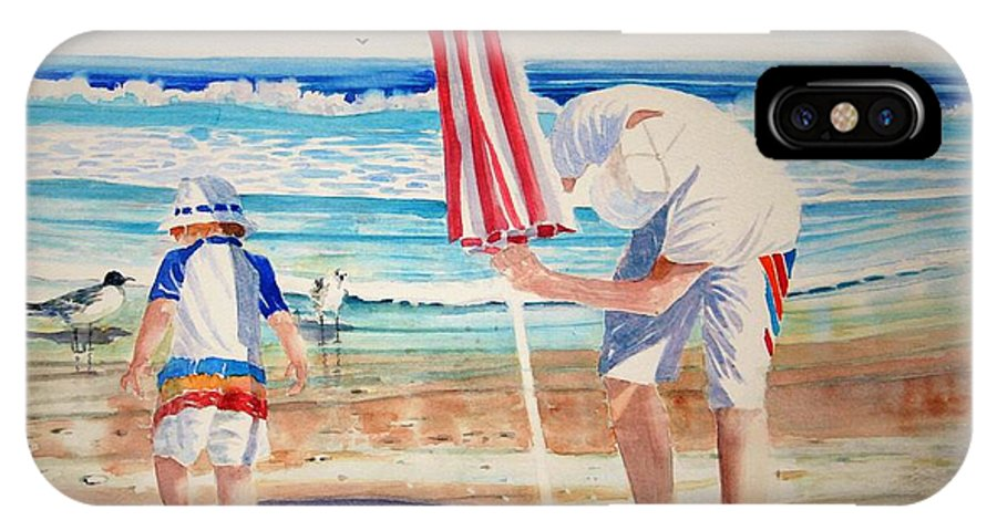 Beach IPhone X / XS Case featuring the painting Helping Dad Set Up The Camp by Tom Harris