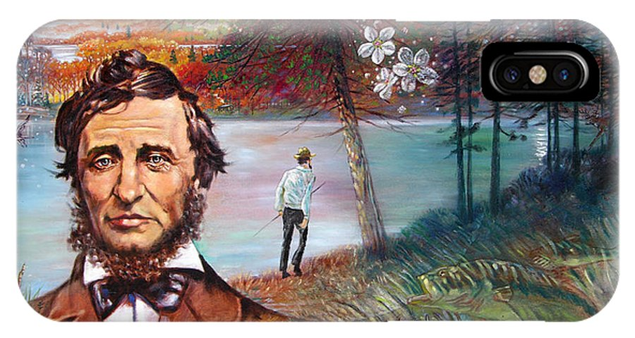 Henry David Thoreau IPhone X Case featuring the painting Henry David Thoreau by John Lautermilch
