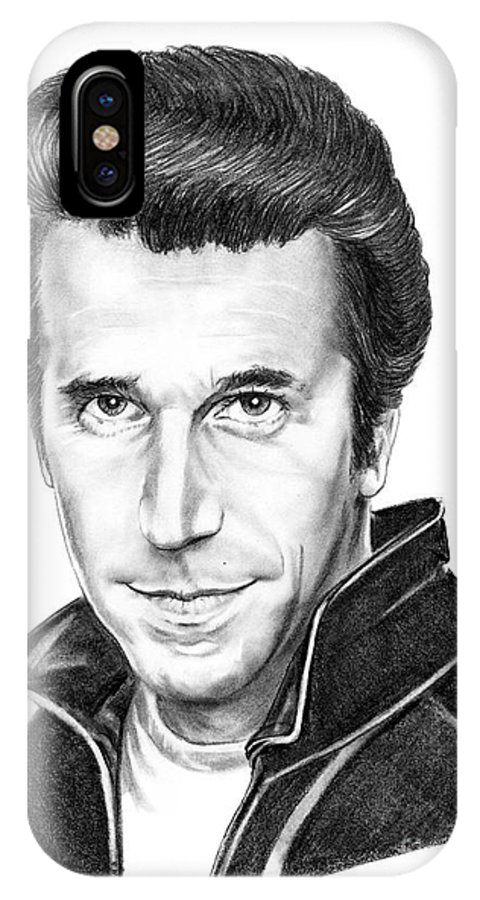 Portrait IPhone X Case featuring the drawing Henry Winkler The Fonz by Murphy Elliott