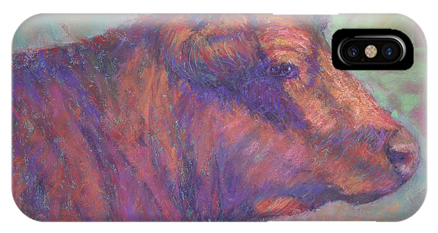 Farm Animals IPhone Case featuring the painting Henry's Red Angus by Susan Williamson