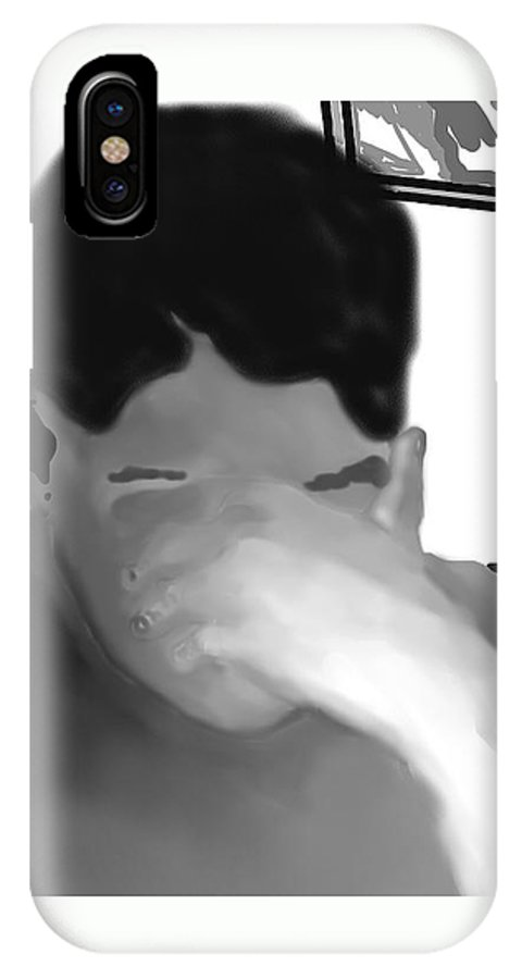 Illustration IPhone X Case featuring the drawing Her Hidden Burden by Pharris Art