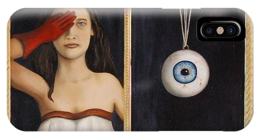 Eye IPhone X Case featuring the painting Her Wandering Eye by Leah Saulnier The Painting Maniac