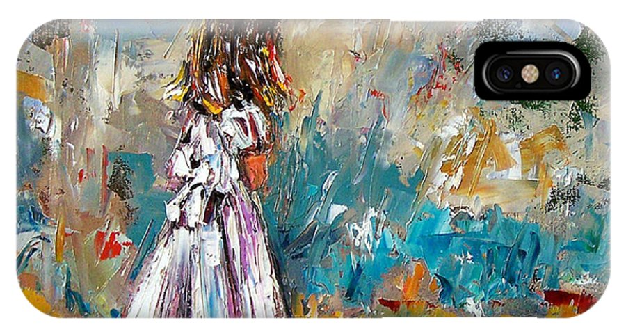 Children Art IPhone X Case featuring the painting Her White Dress by Debra Hurd