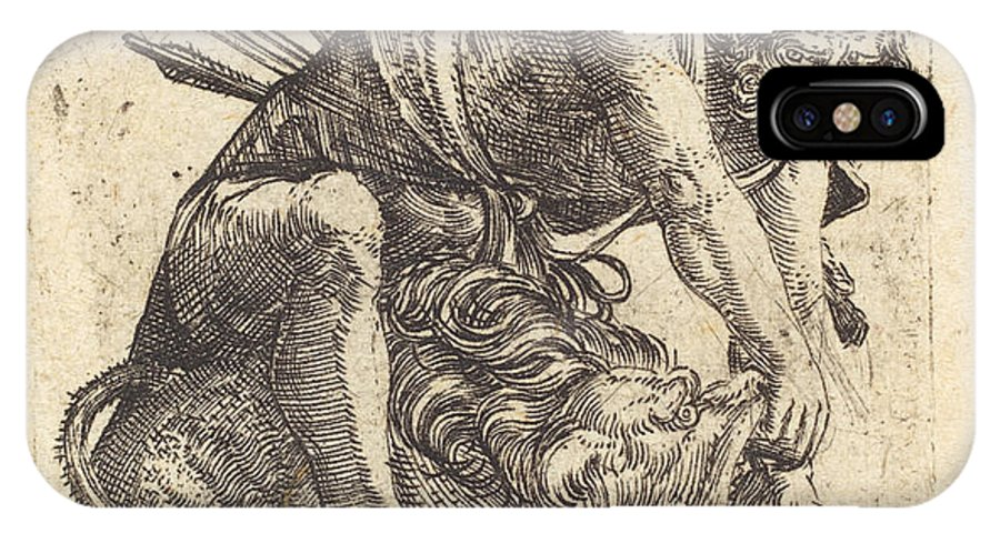 IPhone X Case featuring the drawing Hercules Overcoming The Nemean Lion by Albrecht Altdorfer