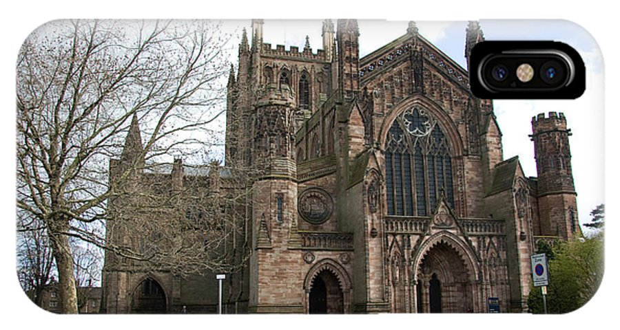Cathedral IPhone X Case featuring the photograph Hereford Cathedral England by Bob Kemp