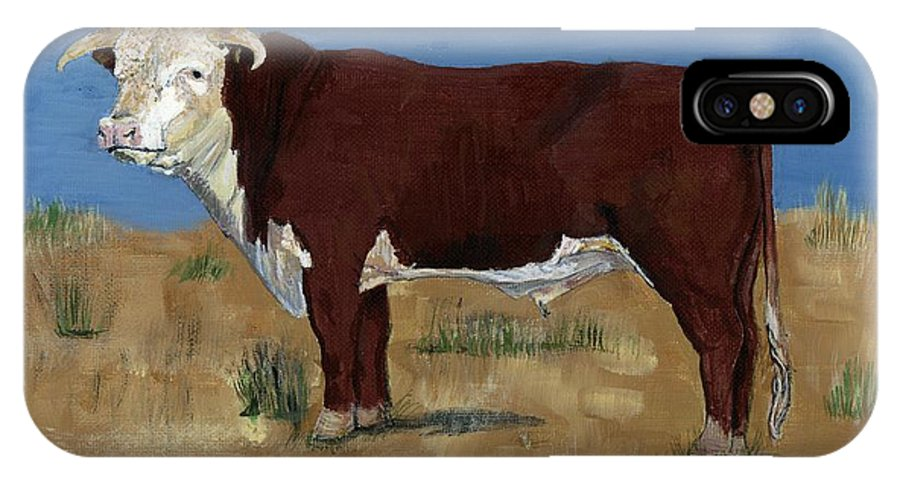 Cow IPhone X Case featuring the painting Hereford by Sara Stevenson