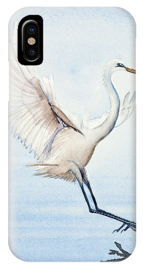 Heron IPhone X Case featuring the painting Heron Landing Watercolor by Michelle Wiarda-Constantine