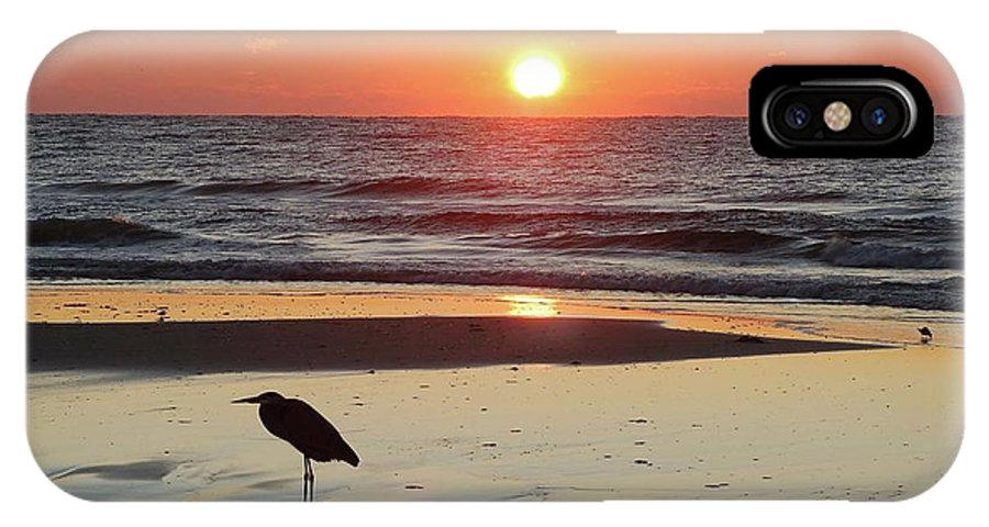 Alabama Photographer IPhone X Case featuring the digital art Heron Watching Sunrise by Michael Thomas