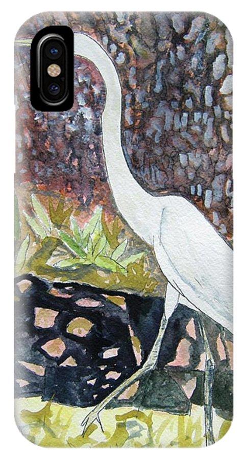 Bird IPhone X Case featuring the painting Herron by Derek Mccrea