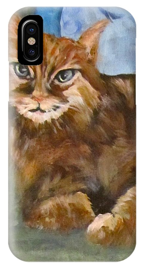 Cat IPhone X Case featuring the painting Hey Diddle Diddle by Barbara O'Toole