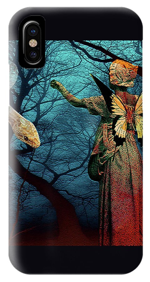 Snake Temptation Girl Wings Butterfly Woods Fantasy Landscape Woman IPhone X Case featuring the digital art Hey Little Girl... by Veronica Jackson