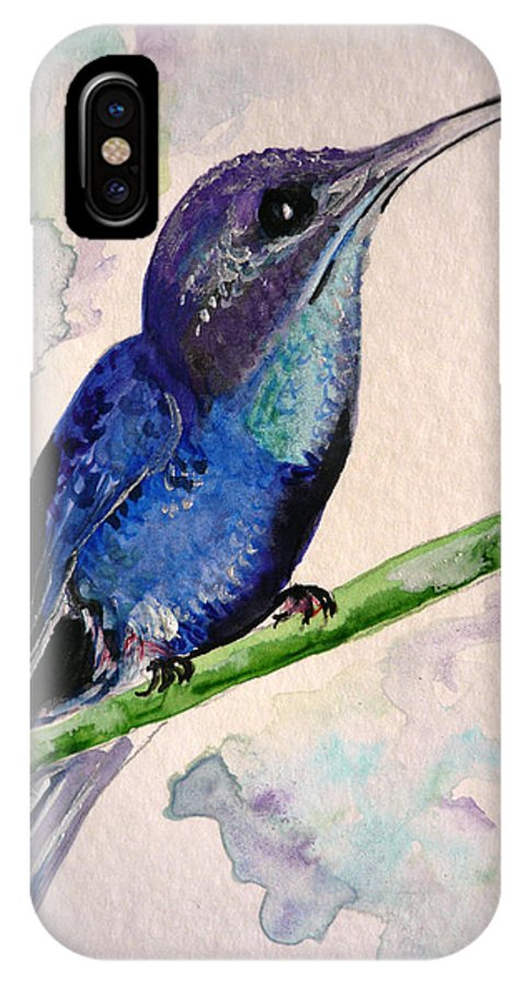 Hummingbird Painting Bird Painting Tropical Caribbean Painting Watercolor Painting IPhone X Case featuring the painting hHUMMINGBIRD 2  by Karin Dawn Kelshall- Best